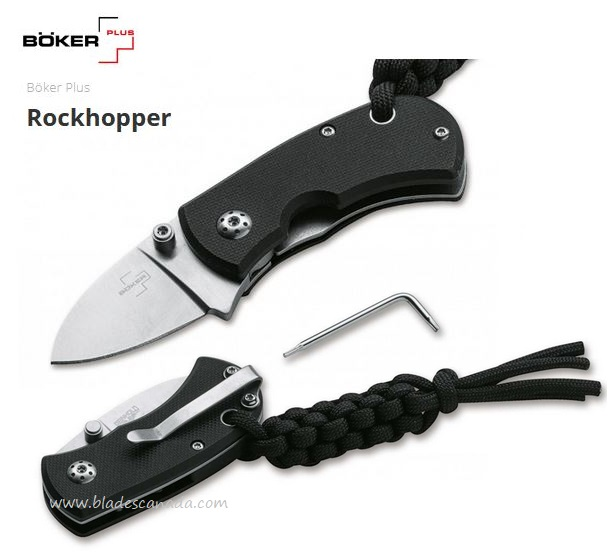 Boker Plus Rockhopper Folding Knife, D2, Black G10, 01BO317