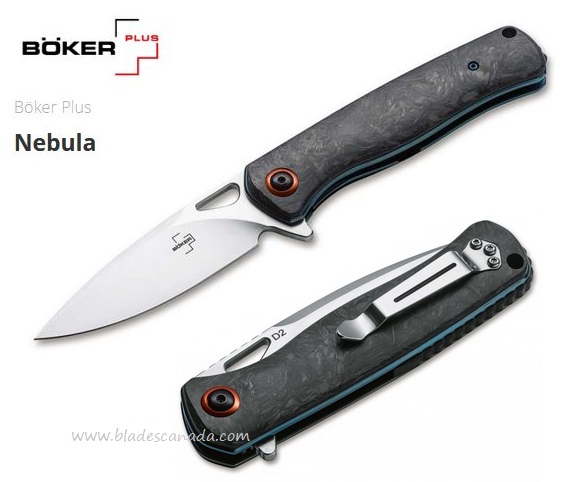 Boker Plus NebulaFlipper Folding Knife, D2, Carbon Fiber Handle, 01BO319