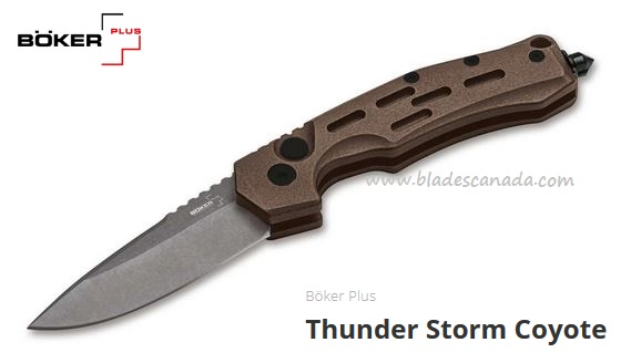 Boker Plus Thunder Storm Coyote, AUS8, Aluminum Handle, 01BO794N