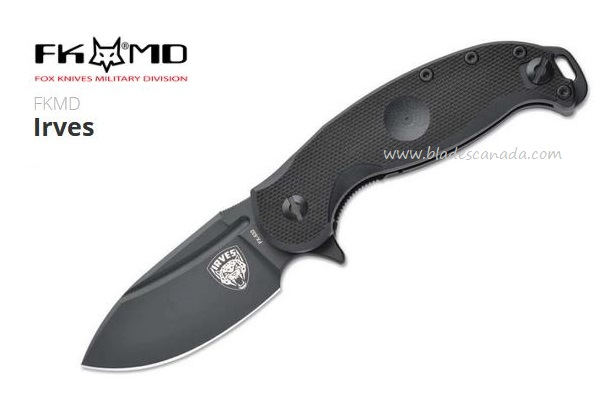 Fox Italy Irves Flipper Folding Knife, N690 Steel, Black G10, 01FX179