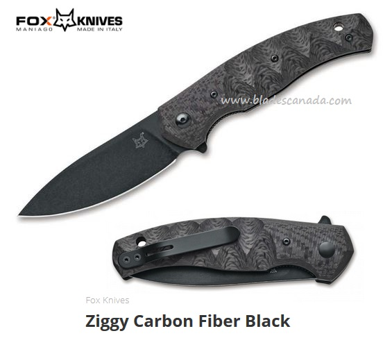 Fox Italy Ziggy Carbon Fiber, N690 Steel Flipper Folder,