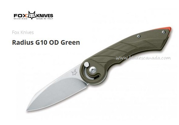 Fox Italy Radius G10 OD Green Folding Knife, N690, 01FX867