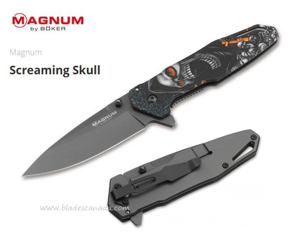 Boker Magnum Screaming Skull Framelock Flipper Folder, 01MB230