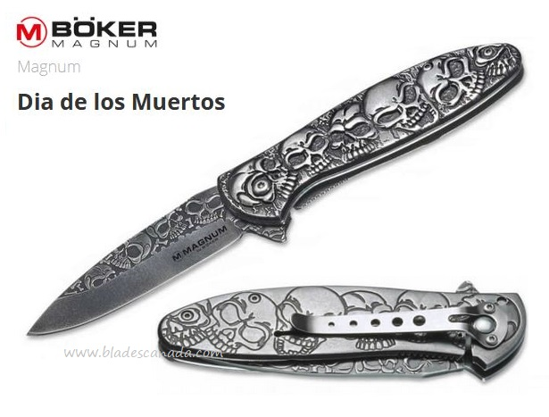 Boker Magnum Dia De Los Muertos Flipper Folding Knife, Assisted Opening, 01SC519