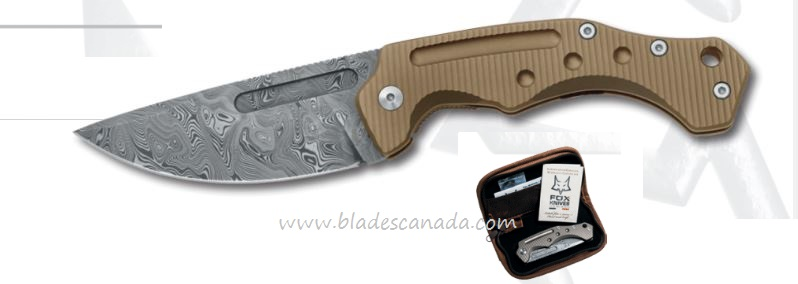Fox Italy FX521DRB Desert Fox, Damascus Blade, Titanium Handle