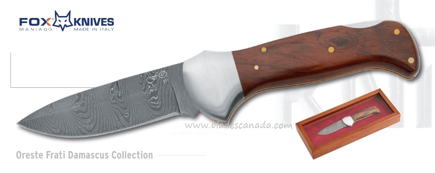 Fox Italy 578D Damascus Folder, Cocobolo, 01FX271
