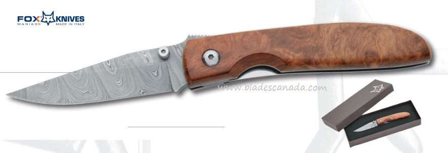 Fox Italy 2499DA Damascus Folder, Amboina Wood, 01FX311