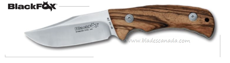 BlackFox BF133ZW Outdoor FB Zebra Wood w/Leather Sheath, 02fX139