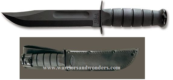 Ka-Bar 1211 Black Plain Edge With Leather Sheath