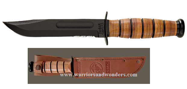 Ka-Bar 1218 USMC Serrated Knife W/ Leather Sheath