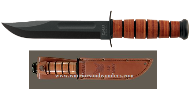 Ka-Bar 1225 U.S. Navy Straight Edge w/Leather Sheath