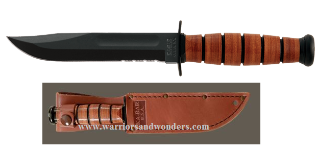 Ka-Bar 1261 Short Serrated USA w/Leather Sheath (Online Only)