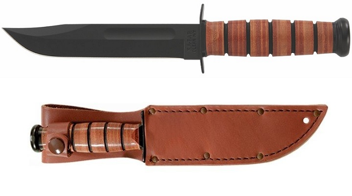 Ka-Bar 1320 Single Mark Straight Edge Knife W/ Leather Sheath