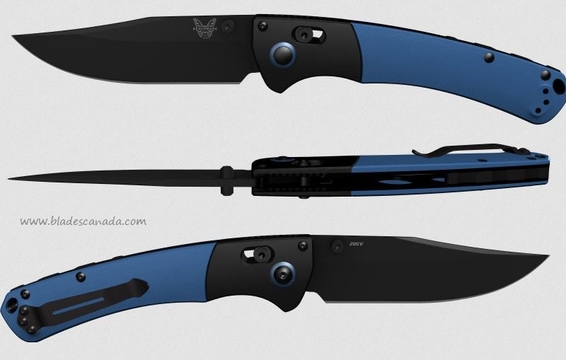 Benchmade Crooked River, 20CV Black Blade, Blue G10 Handle