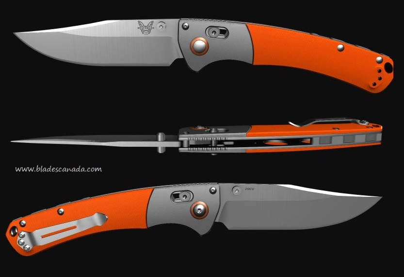 Benchmade Crooked River, 20CV Steel, Orange G10 Handle