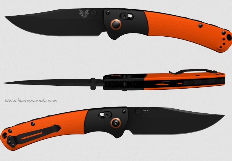 Benchmade Crooked River, 20CV Black Blade, Orange G10 Handle