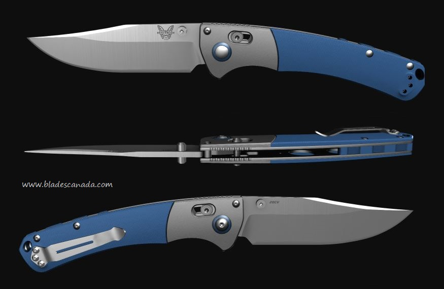 Benchmade Crooked River, 20CV Steel, Blue G10 Handle