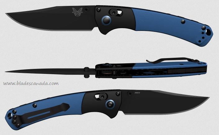 Benchmade Mini Crooked River, 20CV Black, Blue G10 15085CU10