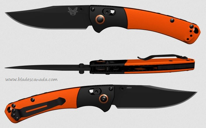 Benchmade Mini Crooked River, 20CV Black, G10 Orange 15085CU14