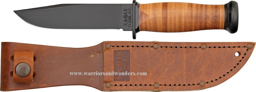 Ka-Bar 2225 Mark 1 Leather Handle Plain Edge