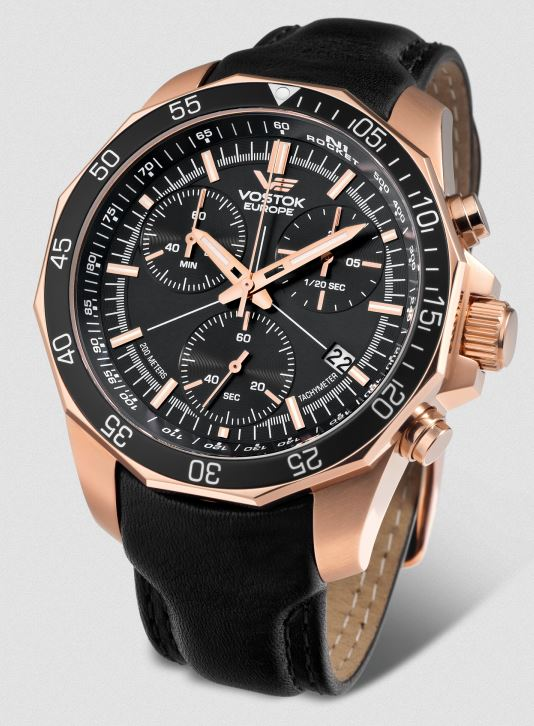 Vostok Europe N1 Rocket Chronograph Leather Strap - Rose Gold