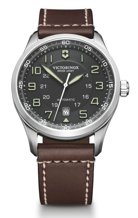 Victorinox AirBoss Mechanical Leather Strap - Gray