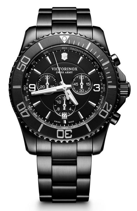 Victorinox Maverick Large Chronograph SS Bracelet - All Black