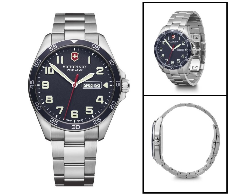 Victorinox Fieldforce Black Dial SS Bracelet 42mm 241849