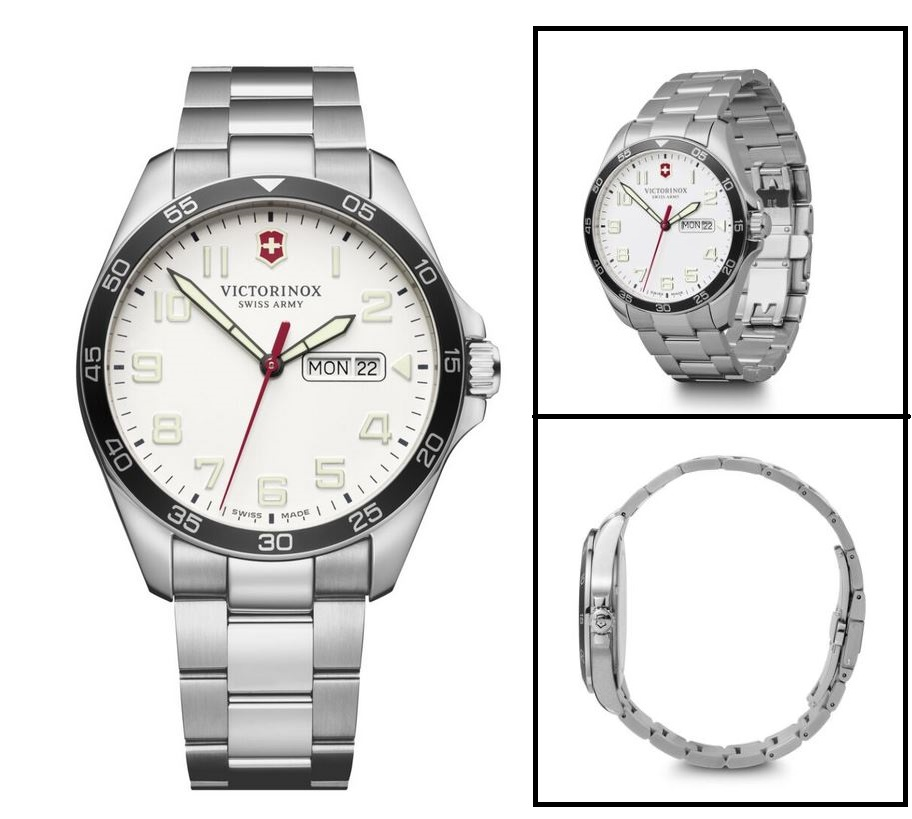 Victorinox Fieldforce White Dial SS Bracelet 42mm 241850