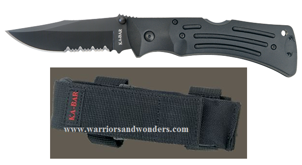 Ka-Bar 3051 Black Mule Spear point serrated knife
