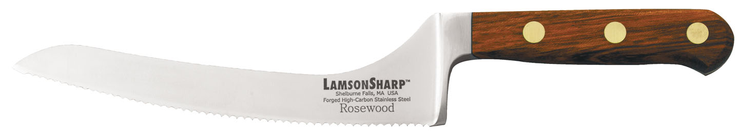 "Lamson Rosewood Forged 7"" Offset Bread Knife Serrated"