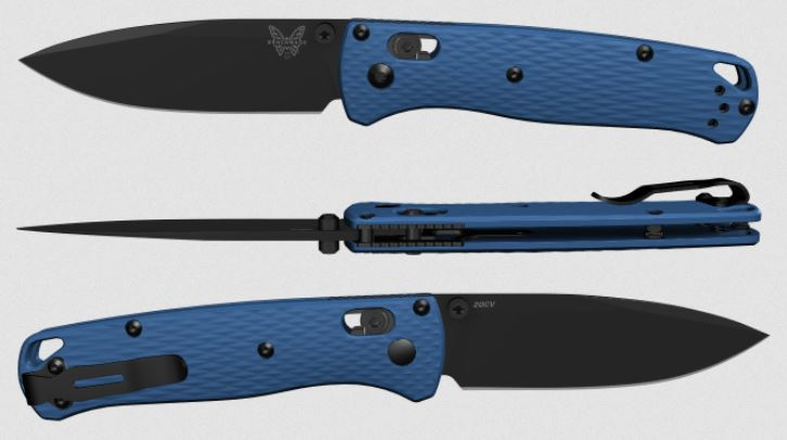 (Coming Soon) Benchmade Bugout, Black 20CV Blade, Blue G10, Black Thumbstud & Standoffs, 535CU110
