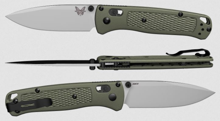 (Coming Soon) Benchmade Bugout, 20CV Blade, Ranger Green, Black Thumbstud & Standoffs, 535CU18