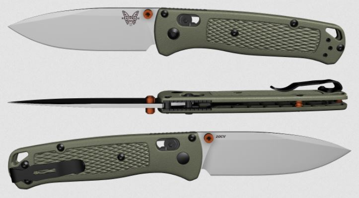 (Coming Soon) Benchmade Bugout, 20CV Blade, Ranger Green, Orange Thumbstud & Standoffs, 535CU22