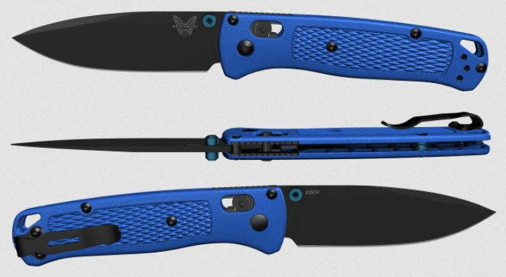 (Coming Soon) Benchmade Bugout, Black 20CV Blade, Blue Handle, Blue Thumbstud & Standoffs, 535CU45