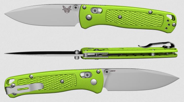 (Coming Soon) Benchmade Bugout, 20CV Blade, Neon Green Handle, Satin Thumbstud & Standoffs, 535CU52