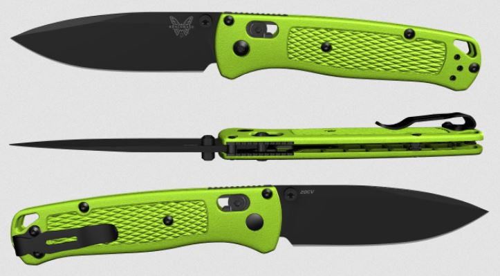 (Coming Soon) Benchmade Bugout, Black 20CV Blade, Neon Green Handle, Satin Thumbstud & Standoffs, 535CU53