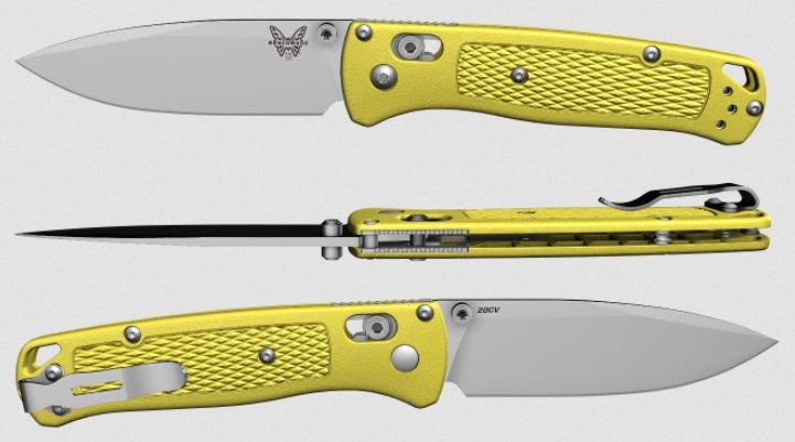 (Coming Soon) Benchmade Bugout, 20CV Blade, Yellow Handle, Satin Thumbstud & Standoffs, 535CU89