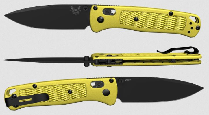 (Coming Soon) Benchmade Bugout, Black 20CV Blade, Yellow Handle, Black Thumbstud & Standoffs, 535CU90