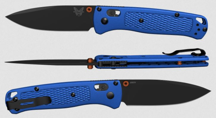 (Coming Soon) Benchmade Bugout, Black 20CV Blade, Blue Handle, Orange Thumbstud & Standoffs, 535CU46