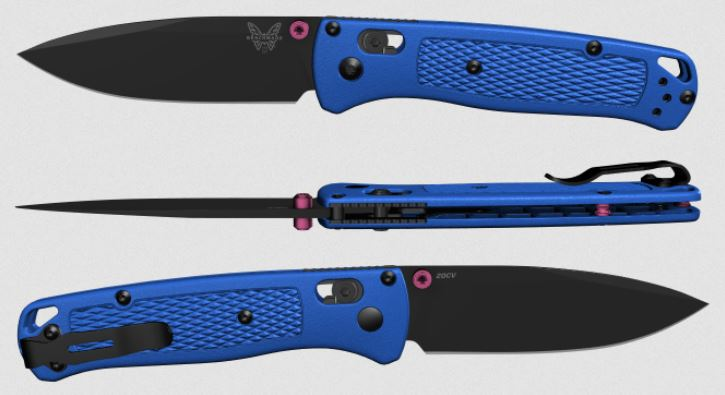 (Coming Soon) Benchmade Bugout, Black 20CV Blade, Blue Handle, Pink Thumbstud & Standoffs, 535CU47