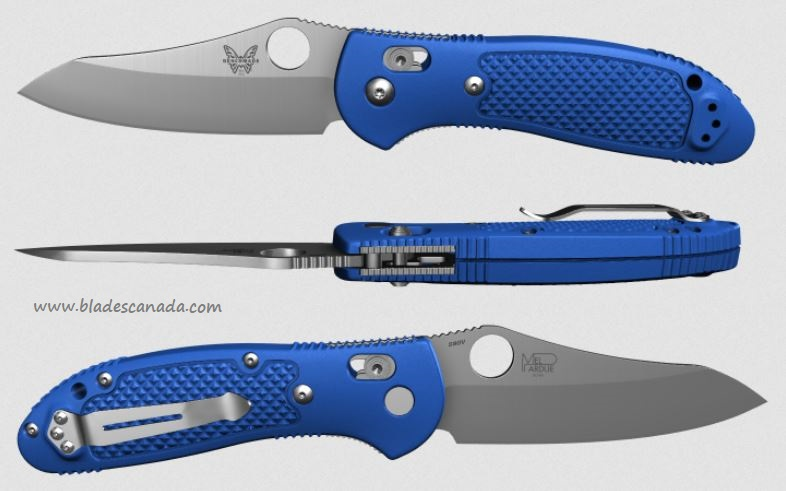 Benchmade Griptilian Pardue 550, Satin S90V, Royal Blue Handle, 550CU12