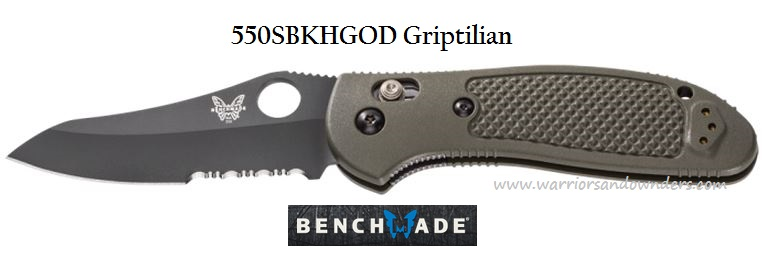 Benchmade Griptilian Black Combo Edge Green Handle 550SBKHGOD