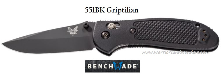 Benchmade Griptilian Drop Point Black Plain Edge 551BK