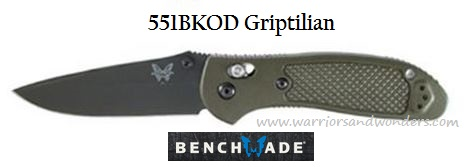 Benchmade Griptilian Black Blade Green Handle Plain Edge 551BKOD