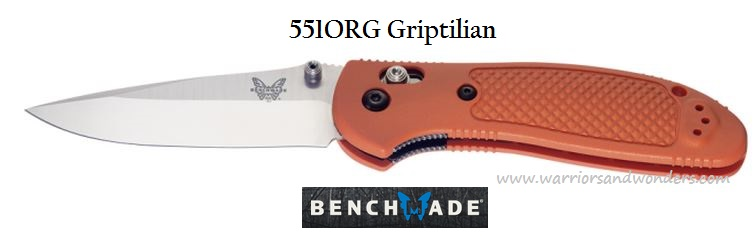 Benchmade Griptilian Plain Edge Drop Point Orange 551ORG