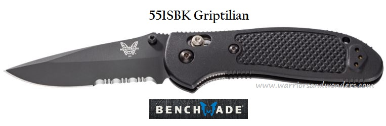 Benchmade Griptilian Drop Point Black ComboEdge 551SBK