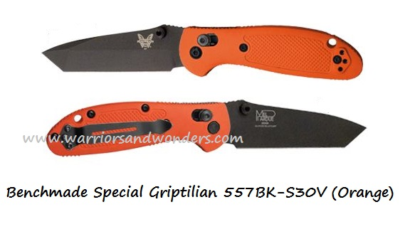 Benchmade Griptilian 557 Tanto Black S30V - Orange (Online Only)