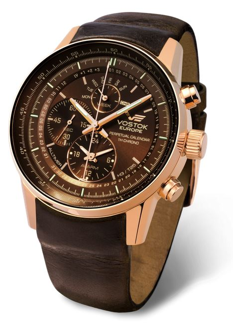 Vostok Europe Gaz Limo Tritium All Timer- Brown/Gold