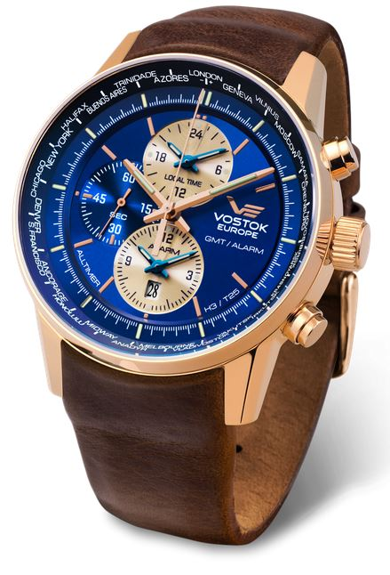 Vostok Europe Gaz Limo Tritium World Timer - Blue/Gold